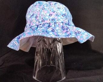 Baby Medium Reversible Ruffle Hat Flower Design/ Pink Stripe Design BMR2