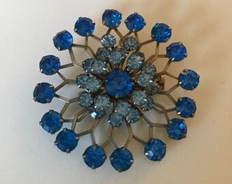 2 Jewel Blue Brooch