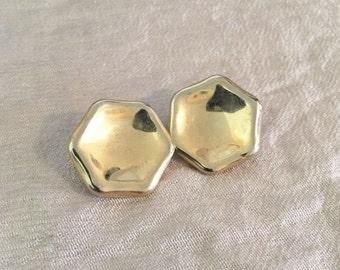 Vintage Gold Hexagon Stud Earrings