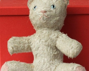 Vintage CAT with chiming bell inside // or Teddy Bear // Old Teddy Bear // Old Cat //  21 cm x 19 cm