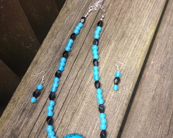 Handmade Blue and Black Glass bead Necklace and Earring set