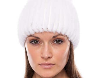 Handmade knitted white mink fur hat with white fox fur pom pom
