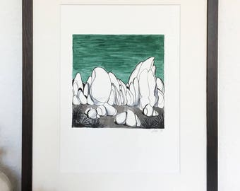 Original drawing - Joshua tree rocks
