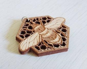 Bumble Bee Pendant  |  Honey Comb  |  Detailed Laser Cut Necklace  |  Wooden Pendant  |  Jewellery