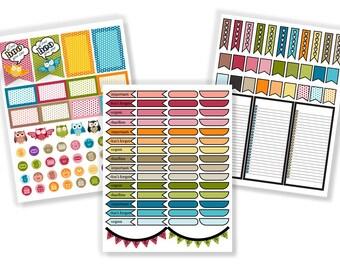 Adorable Owl Calendar Stickers - Instant Download