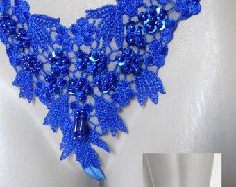 SEXY LINGERIE STRING pearls and lace Blue - King T.42 - 44