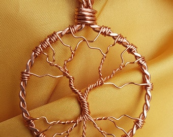 Copper Tree of Life Pendant with Leather Cord