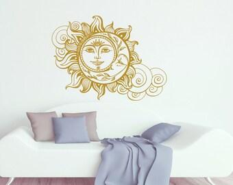 Sun And Moon Wall Decal Crescent Moon Decor Ethnic Symbol Decal Bedroom Decor Dorm Bohemian Boho Decal Sun And Moon Wall Art Decor S70