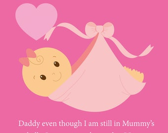 Daddy Bump Girl Fathers Day Card