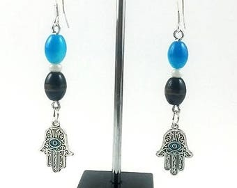 Blue and black handmade earrings
