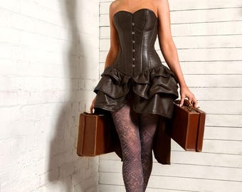 Brown leather Victorian Steampunk Burlesque bustle overbust laced steel boned corset dress 20-40 inches