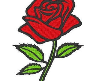 Red rose with stem Embroidery file