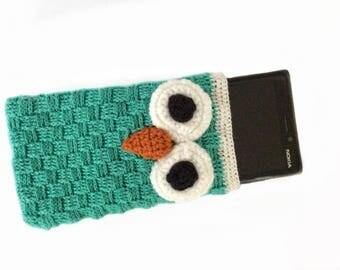 Owl Cell Phone Case, Crochet Cell Sleeve, Green Mobile Slip Cover, Crochet mobile phone cover, Owl mobile phone cover, crochet mobile case