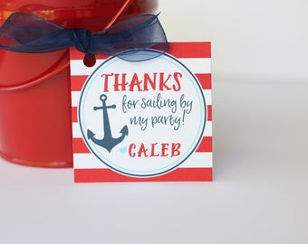 Nautical Birthday Party Favor Tags/Stickers - Nautical Birthday - Nautical Thank You Tags OR Stickers, Set of 12