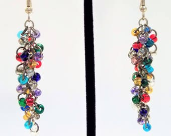 Rainbow Seed Bead Cluster Earrings