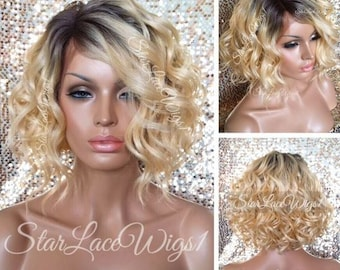 Short Wavy Blonde Lace Front Wig - Human Hair Blend - Bob Wig - Brown Roots - Swiss Lace - Heat Resistant Safe -