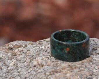 Teal Big Leaf Maple Wood Ring, Natural Wood Ring, Mens Wood Ring, Womens Wood Ring, Wood Jewelry