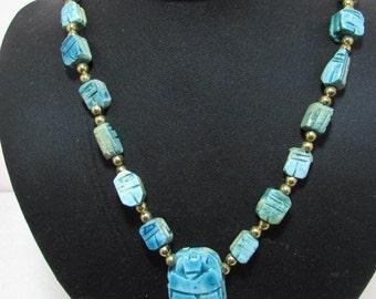 "Vintage Egyptian Scarab Necklace Glazed Ceramic Carved Beads  1 Size 25""Long"