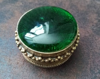 Little round box vintage colored glass and brass. Glass pill box. Trinket Box