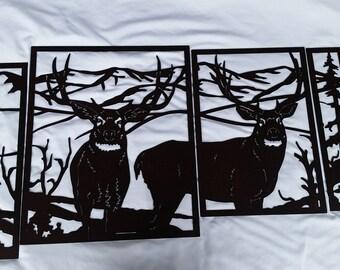 Deer Metal Art Panel Scene