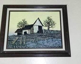 H. Hargrove Framed Barn Oil Painting