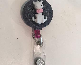 Sparkle cow badge holder