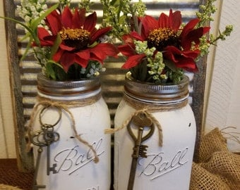 2 Rustic White Quart Size Painted Mason Jars, White, Shabby Chic, Vintage, Ball Mason Jar, Rustic Key, Rusty Lid, Twine