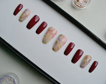 Spring Opal and Berry Coffin/Ballerina Press on False Nails