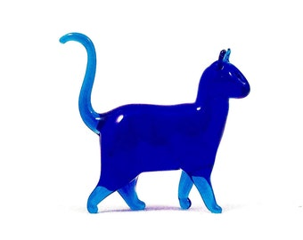 Cool Blue Cat - Glass Sculpture