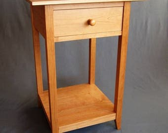 Wood Furniture. Solid Cherry Shaker Side Table, End Table, Nightstand with Handcrafted Joinery for Home