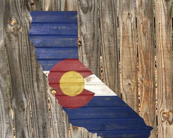 California-Colorado  Cedar Flag Sign - Any Flag On Any State Or Country Outline