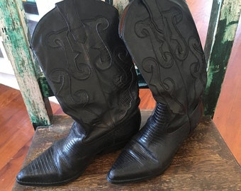 Used black leather cowboy boots