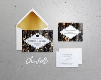 Wedding Invitation, Announcement 5x7 in with envelope A7 - Chic, marble, black, gold, modern, winter, gilding, neutral