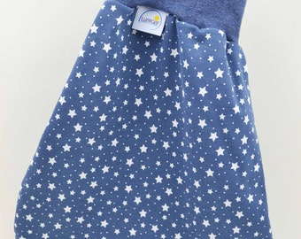 Zips from organic cotton sleeping bag to the swaddling babies and children for bed, cradle, stroller, blue, White Star, girl, boy
