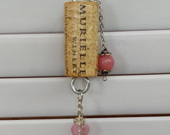 Cork Necklace with a pink pig
