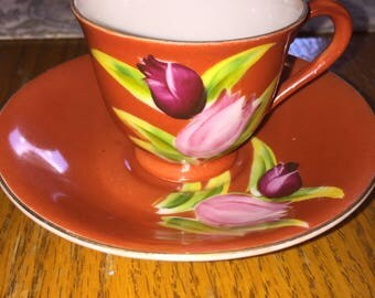 hand painted occupied Japan tulip tea cup and saucer set