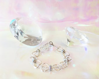 Heart Bracelet with iridescent Beads and Spacers