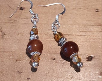 Earrings with glass beads and silver accents