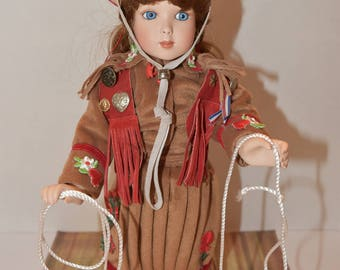 15' Porcelain Cowgirl Doll by Cindy Schaefer
