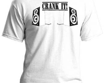 "Audiophiles welcome! Custom silk screen printed t-shirt featuring some speakers and the words ""CRANK IT"" Great quality, made to order!"