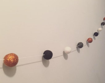Copper Glitter Felt Ball Garland