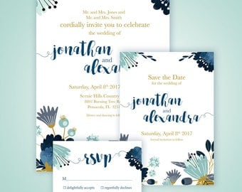 Blue and Gold Floral Wedding Invitation Kit ** Custom Printable Invitation, RSVP, and Save the Date Set