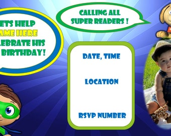 Super Why Party invitation