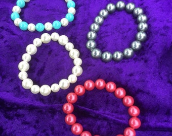 stretchy bracelets shell pearls / blue / white / pink / grey blue