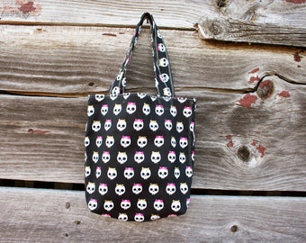 Girly skulls small tote bag- cotton, fully lined