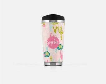 Custom Travel Mug, Cactus Travel Mug, Cactus Mug, Pink Travel Tumbler, Personalized Tumbler, Stainless Steel Cup, To Go Coffee Cup, 16 oz
