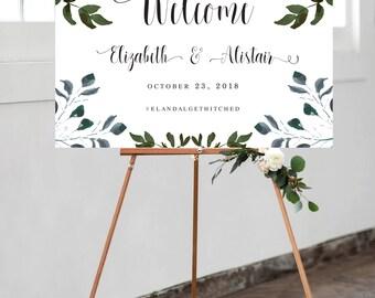 Printable Wedding Welcome Sign | Romantic Watercolour Floral | Garden Floral Style | Custom Wedding Sign | DIY Printable Wedding Sign