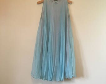 Vintage 1960s sapphire blue trapeze dress with sequin collar