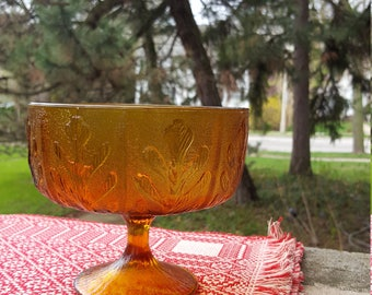 1970's Amber Glass Vintage Pedestal Bowl