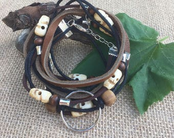 BOHO Black and Brown Suede Leather Triple Wrap Bracelet with Skulls